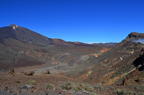 View of Teide National park from crater wall, Tenerife