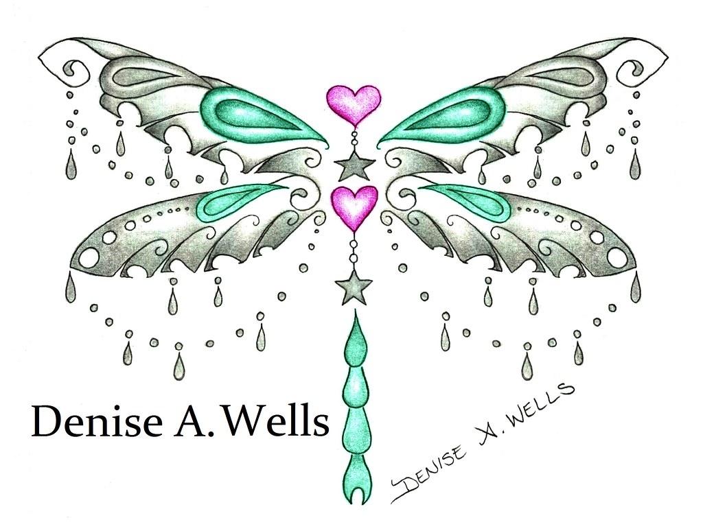 charm dragonfly tattoo design by denise a wells charm dr flickr. Black Bedroom Furniture Sets. Home Design Ideas