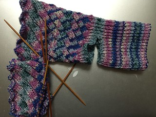 Estonian Spiral Sock in Progress