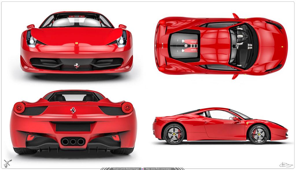 Modelado 3d Ferrari 458 Vistas Tipo Blueprint Estas