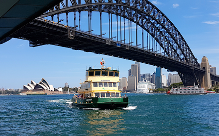 A ferry on Sydney Harbour with the Sydney Harbour Bridge and the city in the background.