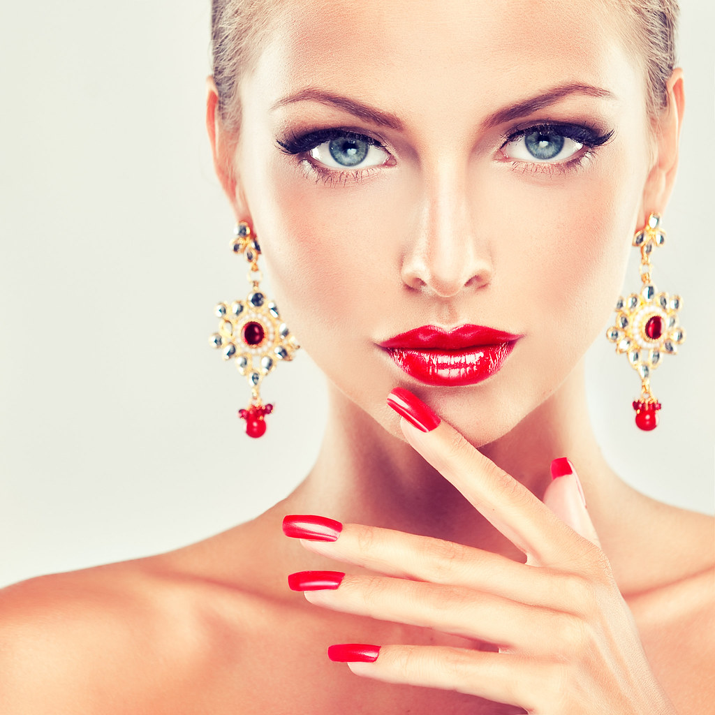 Fashion Beauty Model Girl Stock Image Image Of Manicured: Girl With Red Nails And Fashion Earrings