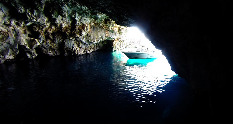 Green Cave, boat entering, island Vis, Croatia