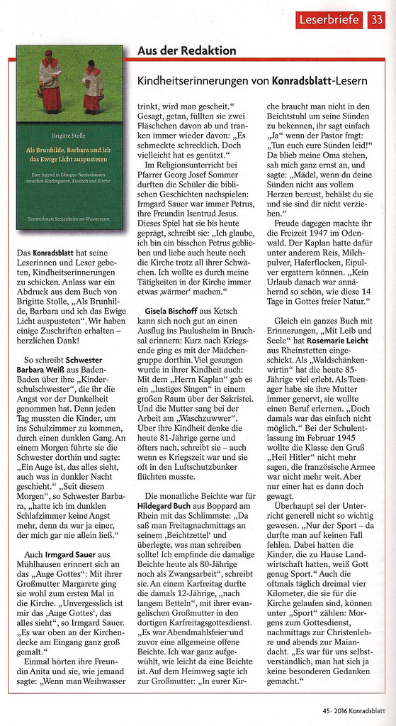 """Als Brunhilde, Barbara und ich das Ewige Licht auspusteten - Eine Jugend in Edingen-Neckarhausen zwischen Kindergarten, Kiesloch und Kirche"""" von Brigitte Stolle - 1960er-Jahre ... Konradsblatt November 2016, Leserbriefe ... Kindheitserinnerungen"""