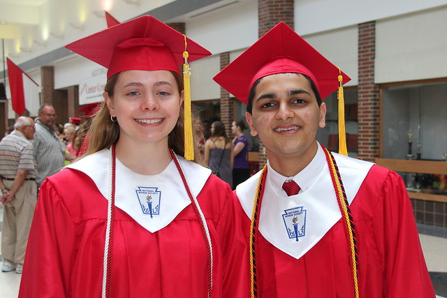 Salutatorian Julie Simon and Valedictorian Kaveet Pandya after the ceremony