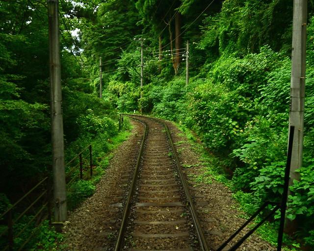 Carriles del tren que nos llevó hasta Hakone desde Osaka