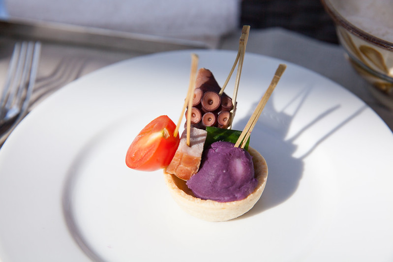Skewers of steamed ham, Okinawa purple potato and octopus