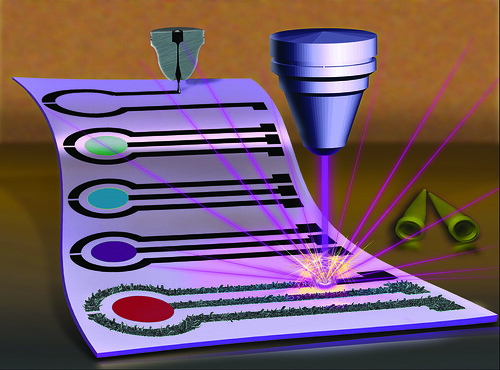Artist conception of the creation of a biosensor that is created with graphene ink