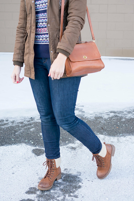 green parka + Target fair isle sweater + jeans + brown hiking boots; casual winter outfit | Style On Target blog