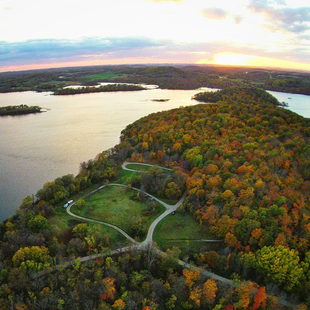 Amazing sunset at Maplewood State Park and we are the only one at the campground. Do you see us down there? @exploreminnesota #OnlyInMN