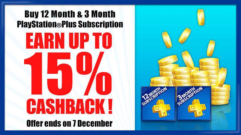 PS Plus Special Offer –  Earn up 15% Cashback !