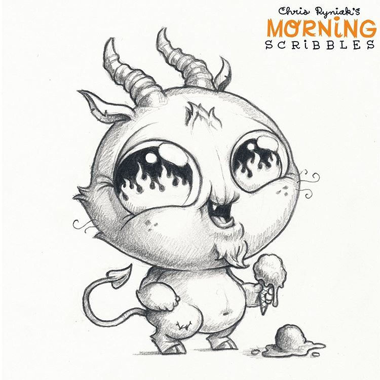 Character Drawings Portraits And Monsters: Hot Hands! 👹🔥🍦💧#morningscribbles #spookyscribbles 🎃👻…