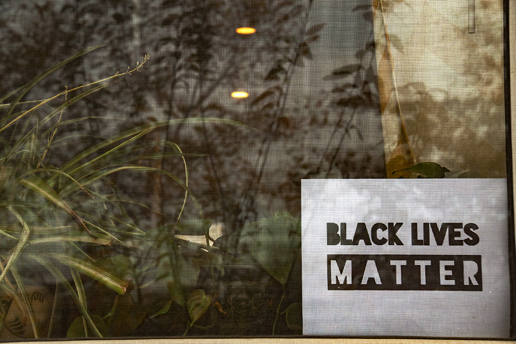 BLACK LIVES MATTER sign in window--Passyunk Square