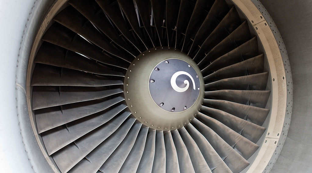 Close-up on the outside of an aircraft engine