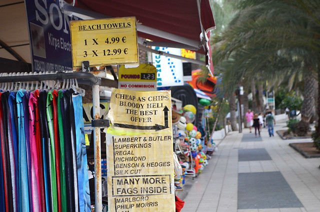 Cheap shops, Los Cristianos, Tenerife