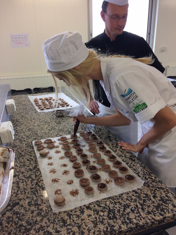 Penwith College learner making macroons