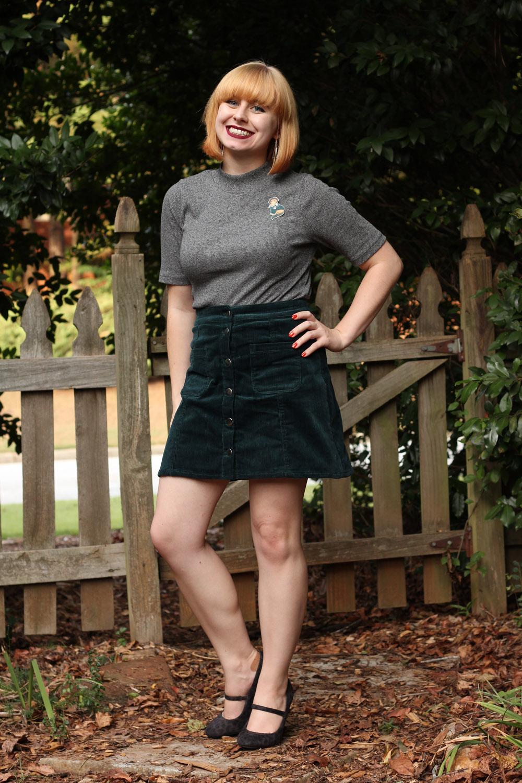 Fall Outfit - Green Corduroy A-Line Skirt Gray Mock Turtleneck Leopard Heels