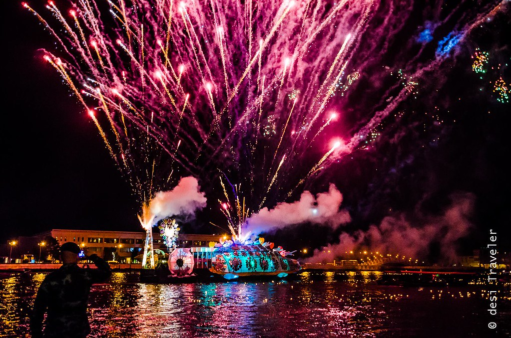 Fire works on Decorated Barge Loi Krathong Thailand