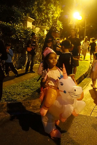 princess riding a unicorn. Halloween 2016 at Woodgrove, Woodlands, Singapore