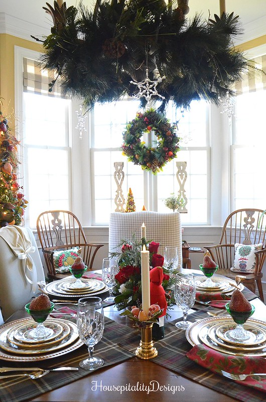 Christmas Tablescape-Lenox Holiday Tartan-Dining Room-Housepitality Designs