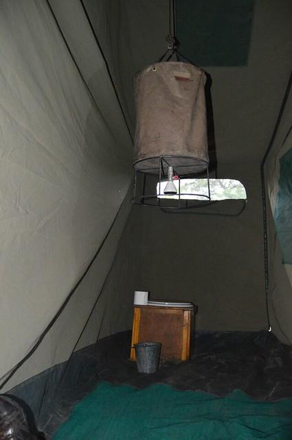 Así es el baño del campamento de Mopane