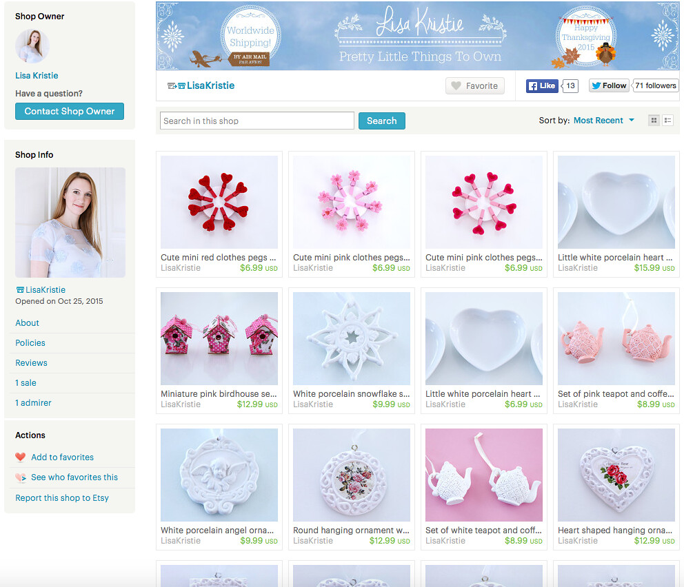 etsy shop store screenshot white pink