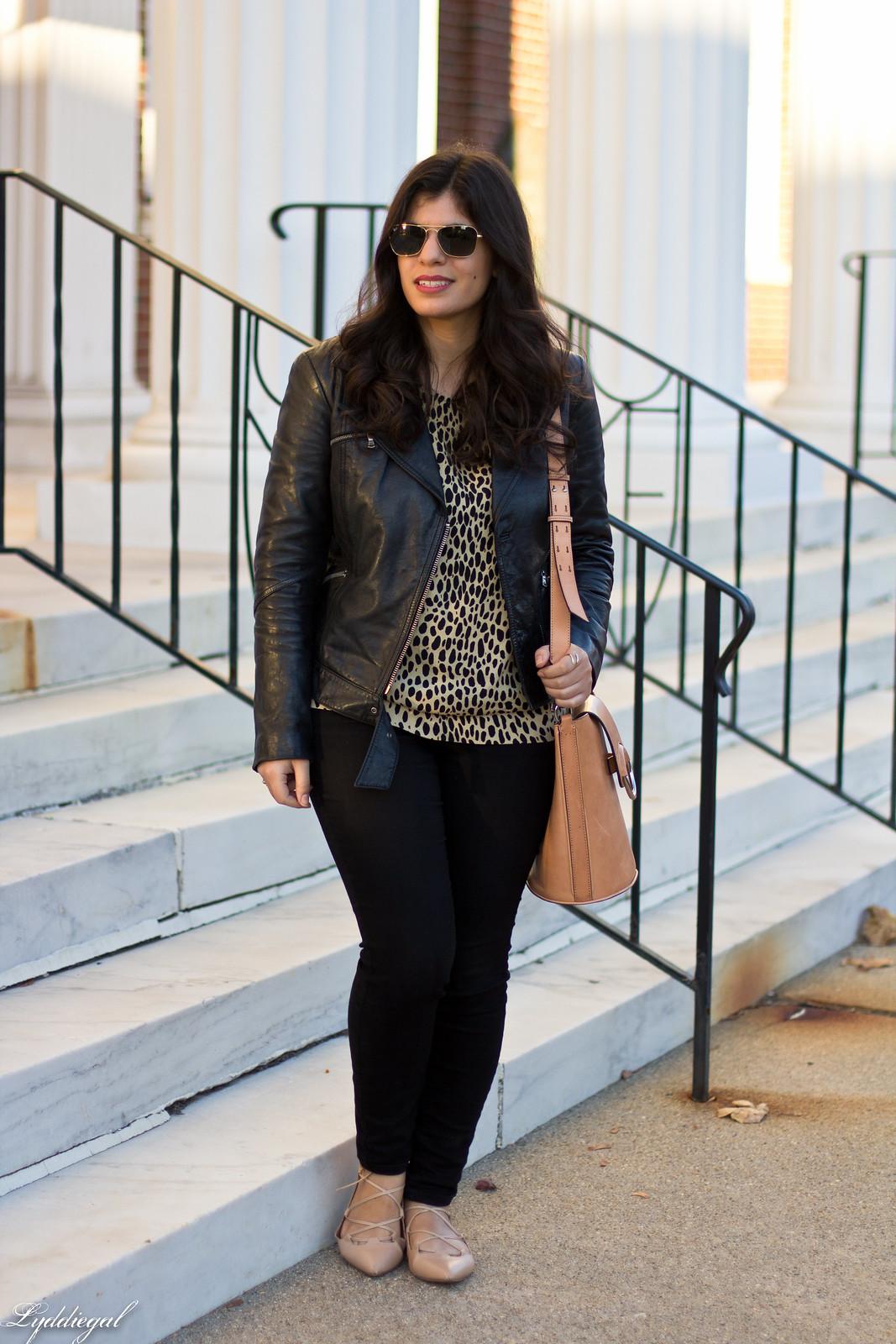 leopard print blouse, black leather jacket, black jeans.jpg
