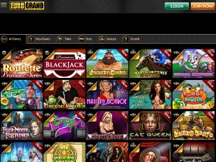 EuroGrand Mobile Casino Home