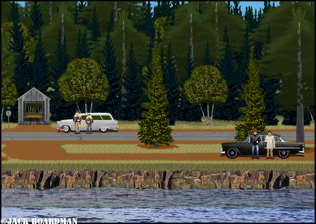 Boomer and Jimmy patrol southwest of Danger Bay ©Jack Boardman