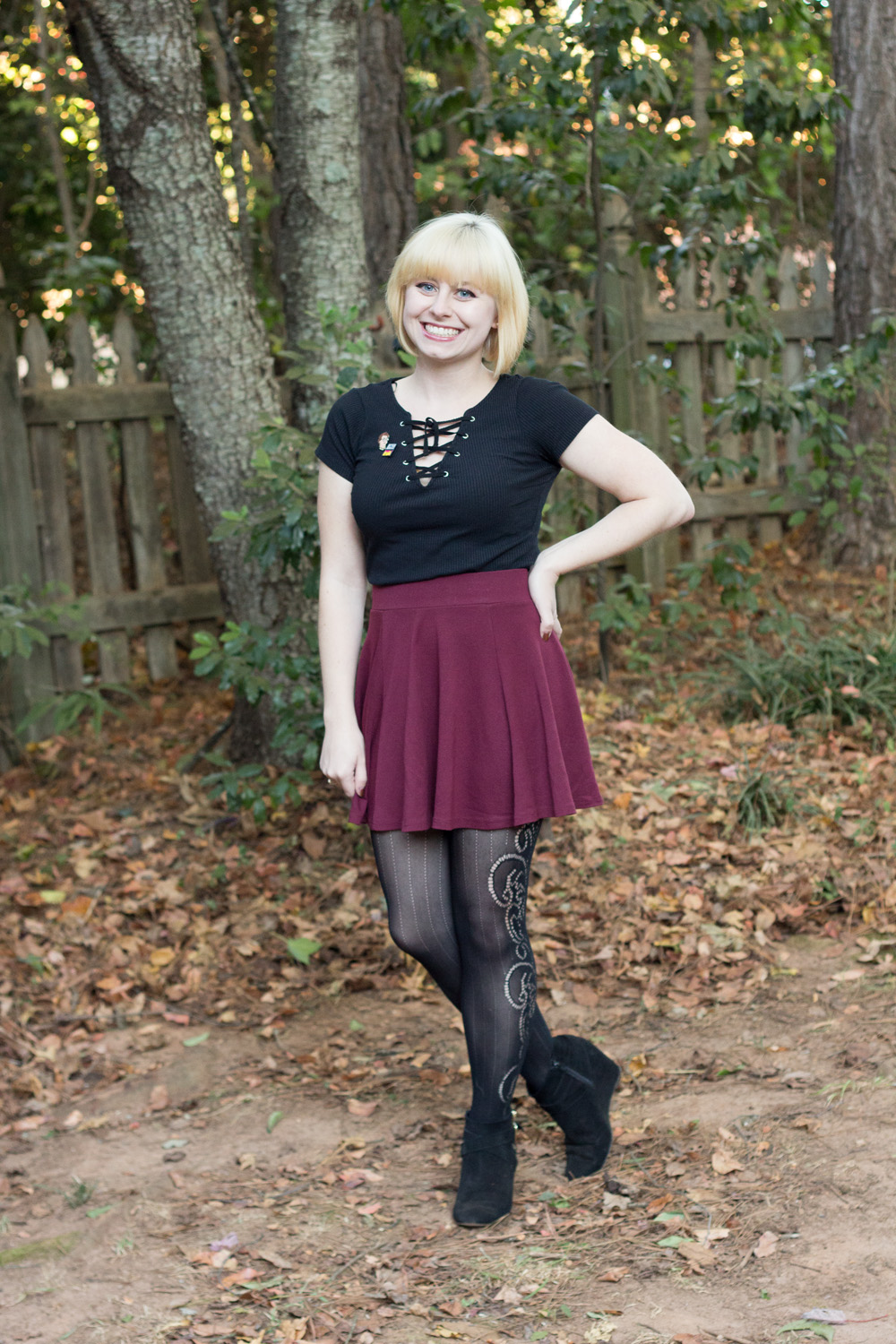Patterned Tights Maroon Skater Skirt Lace Up Shirt Novelty Pins
