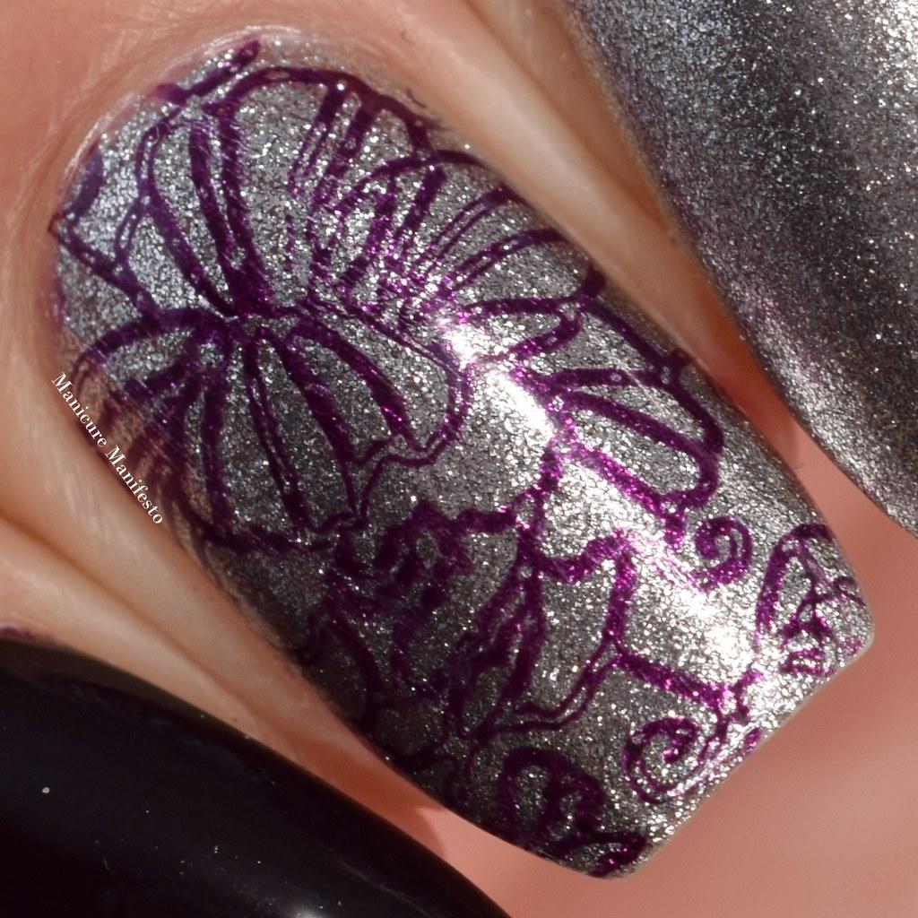 Purple nail stamping