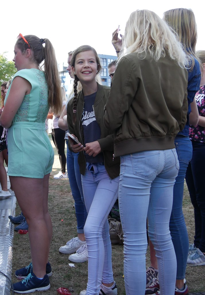 Teen street jeans candid