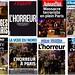 看了法國媒體的頭條集錦,學到三個單字:L'horreur、Carnage、Guerre