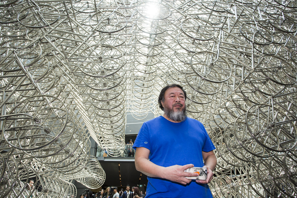 Ai Weiwei at National Gallery of Victoria exhibition Andy Warhol | Ai Weiwei, 11 December 2015 – 24 April 2016. Ai Weiwei artwork © Ai Weiwei. Photo: Tobias Titz