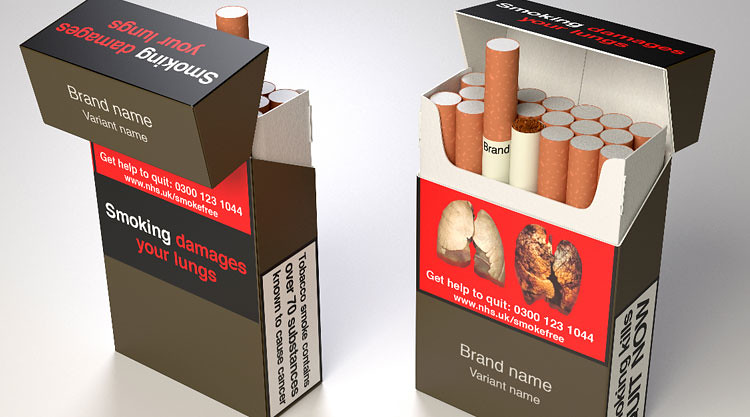 The front and back of proposed standardised cigarette packaging for the UK.