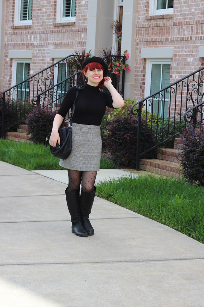 Houndstooth Mini Skirt, Black Short Sleeved Turtleneck, Black Beret, Dotted Tights, and Flat Knee High Boots