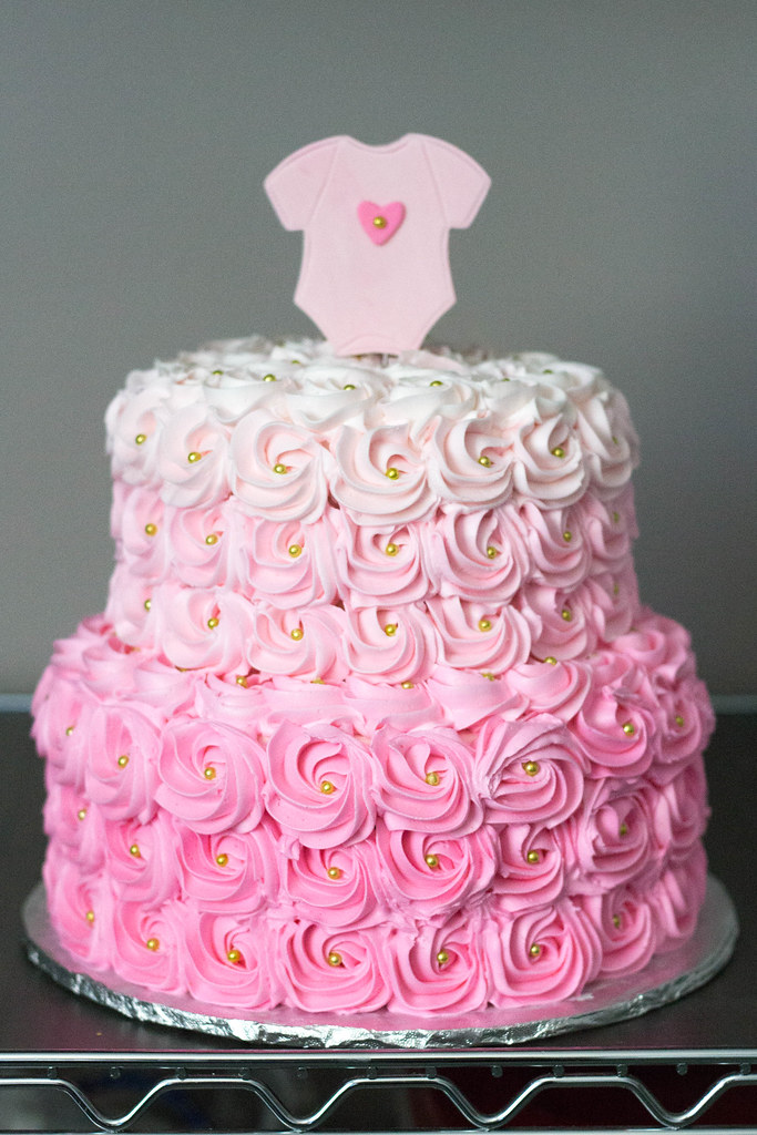 Pink Ombre Rosette Baby Shower Cake Grace ful Cakes Flickr