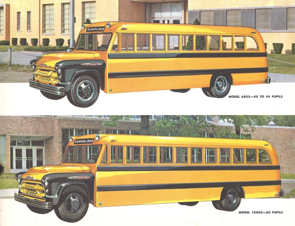 1957 Chevrolet School Bus | pages from a brochure citing ...