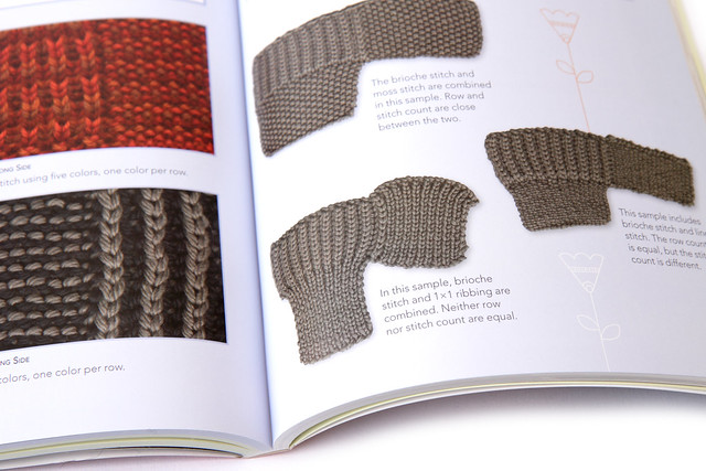 Guidance on combining Brioche stitch with other stitches as a design element; illustration showing how the stitch and row gauge compares with moss stitch, ribbing and linen stitch.