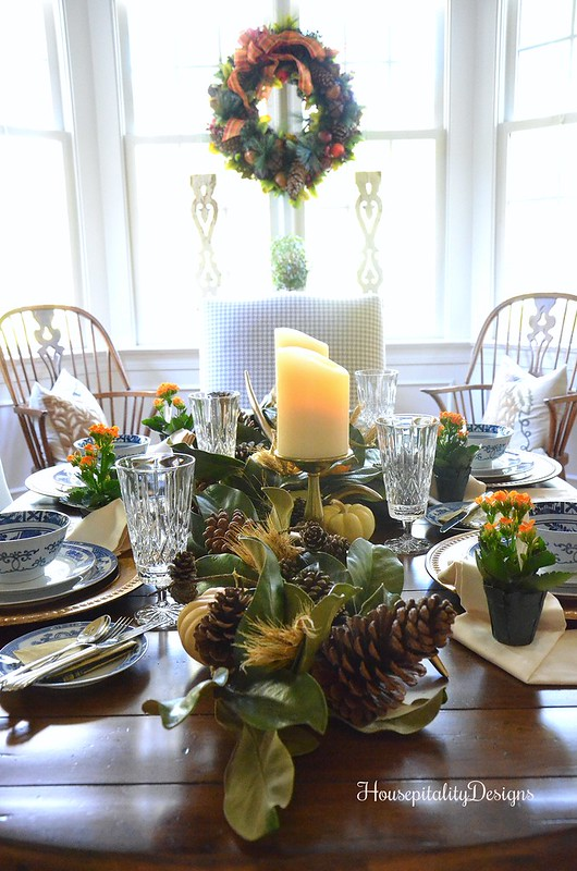 Post Thanksgiving Tablescape - Magnolia Garland Centerpiece - Housepitality Designs