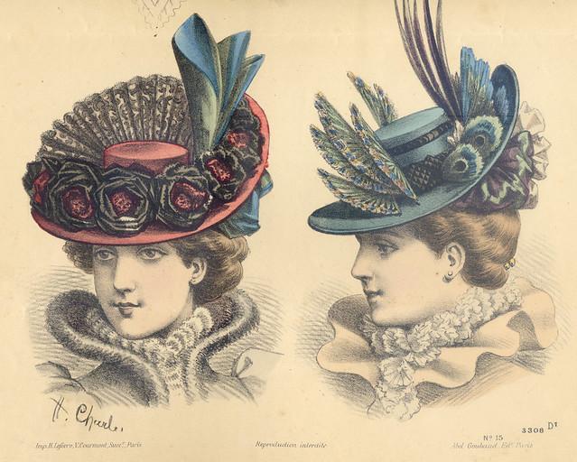 Gravure de mode, chapeaux anciens