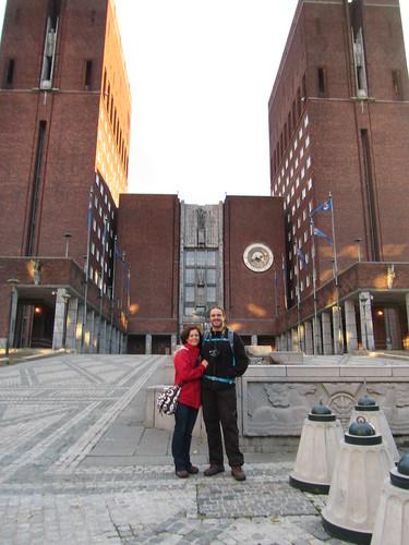Foto en el ayuntamiento de Oslo
