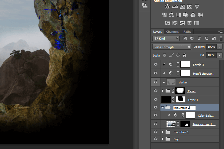 Create in Photoshop supernatural scene with a climber in a cave #1