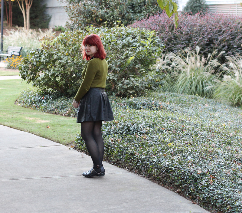 Muted Green Sweater with a Faux Leather Skater Skirt