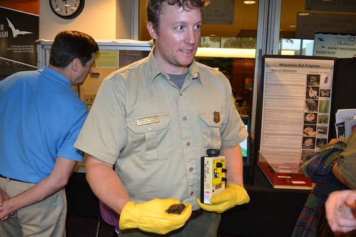 Brian Heeringa using a bat detector to bring the echolocation sounds of a big brown bat