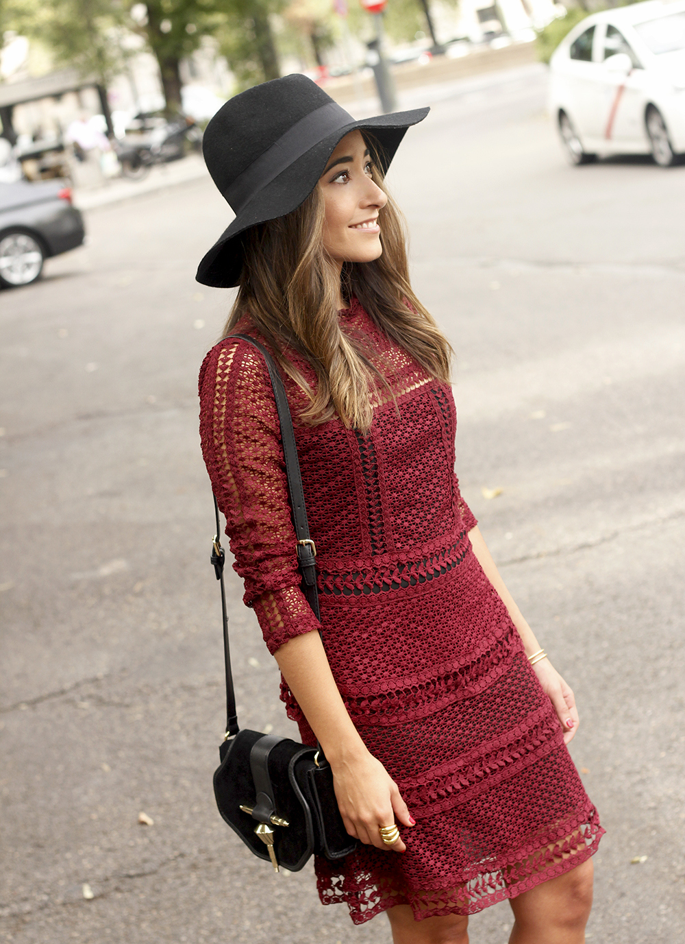 burgundy lace dress black heels hat accessories outfit fashion style20