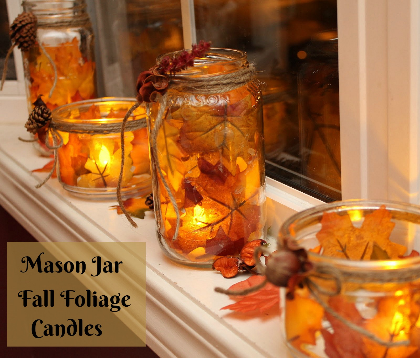 mason jar fall foliage flameless candle