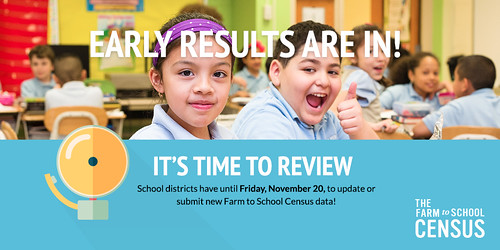 School districts have until Friday, November 20, to update or submit new Farm to School Census data!