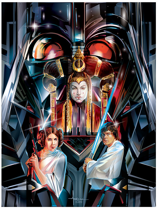 Star Wars: Adversaries By Orlando Arocena - Darth Vader, Padmé Amidala, Princess Leia and Luke Skywalker