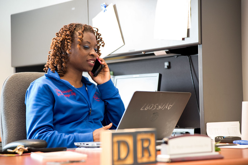 Dr. Najah Salaam Jennings-Bey, a vice principal at Dr. King Elementary School, works in her office. | Tony D. Curtis